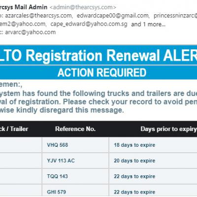 LTO Registration Alert